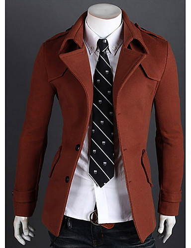 Rayon Rød / Sort / Grå Medium Langermet,Skjortekrage Trenchcoat Ensfarget Vintage / Enkel Ut på byen / Fritid/hverdag / Party/Cocktail-