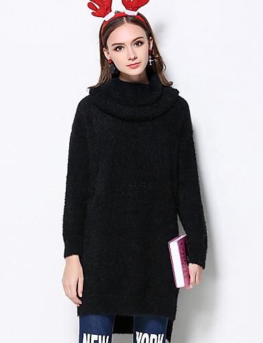 Normal Pullover Fritid/hverdag Søt Dame,Ensfarget Rød / Sort Turtleneck Langermet Akryl Vinter Medium Mikroelastisk