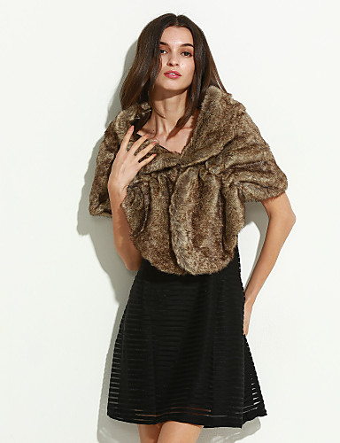Mulheres Casaco de Pelo Happy-Hour / Casual / Festa/Coquetel Sensual / Simples Outono / Inverno,Sólido Amarelo Acrílico Decote Redondo-