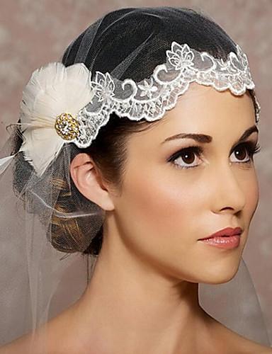 Uma Camada Corte da borda Véus de Noiva Peça para Cabeça com Véu Com Organza