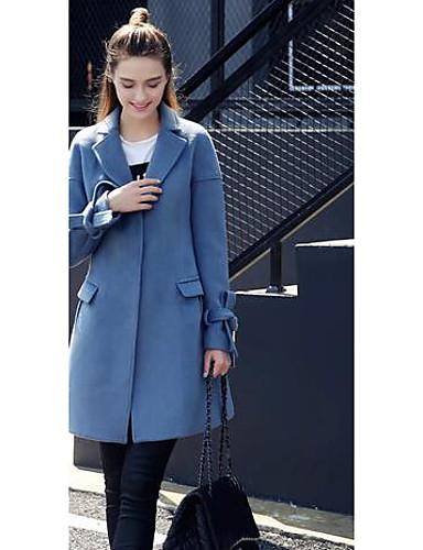 Ull Blå Medium Langermet,Skjortekrage Frakk Ensfarget Søt Ut på byen / Fritid/hverdag-Høst / Vinter Dame