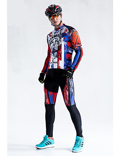 cheap Cycling Clothing-Malciklo Men's Long Sleeve Cycling Jersey with Tights Bike Tights Breathable 3D Pad Quick Dry Back Pocket Winter Sports Coolmax® Lycra USA Mountain Bike MTB Road Bike Cycling Clothing Apparel