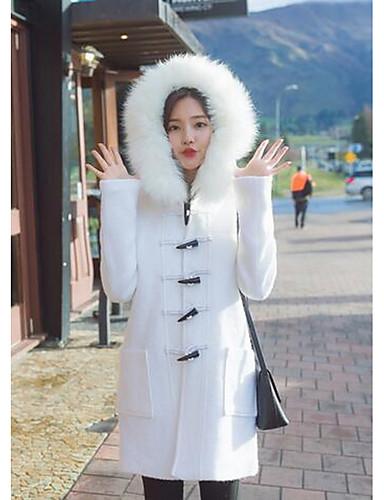 女性 カジュアル/普段着 / ワーク 冬 ソリッド コート,キュート フード付き ホワイト ウール 長袖 ミディアム