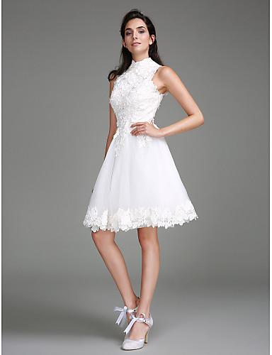 Linia -A Gât Înalt Lungime Genunchi Dantelă Made-To-Measure rochii de mireasa cu Dantelă de LAN TING BRIDE® / Mica Rochie Albă