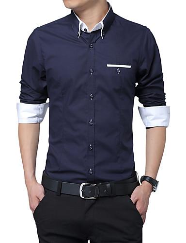 メンズ 結婚式 ワーク オールシーズン シャツ,ヴィンテージ ストリートファッション シャツカラー ソリッド コットン 長袖