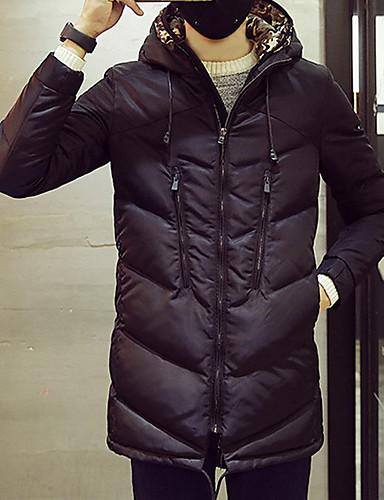 コート レギュラー パッド入り メンズ,カジュアル/普段着 お出かけ ソリッド ポリエステル ポリエステル-シンプル 活発的 長袖 フード付き