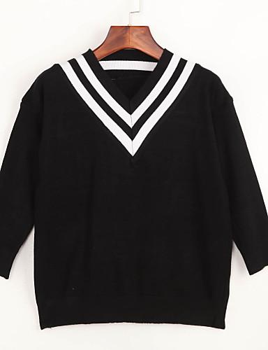 Dame Simpel / Sødt I-byen-tøj / Casual/hverdag Normal Pullover Stribet,Hvid / Sort V-hals Langærmet Bomuld Forår / Efterår Medium