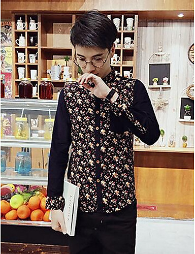 男性用 日常 オールシーズン シャツ, カジュアル Vネック ソリッド コットン 長袖