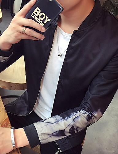 男性 カジュアル/普段着 春 / 秋 ソリッド ジャケット,シンプル スタンド ホワイト / ブラック ポリエステル 長袖 ミディアム