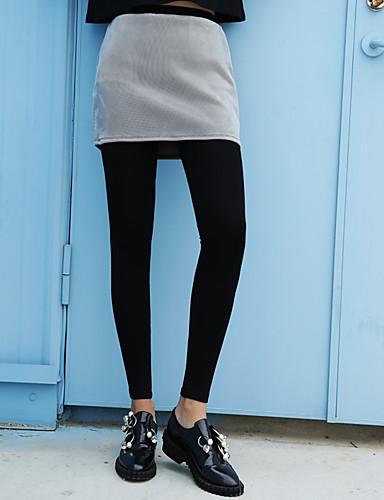 Naiset Yksinkertainen Elastinen Skinny Chinos housut Housut,Korkea vyötärö Puuvilla Yhtenäinen Talvi Syksy
