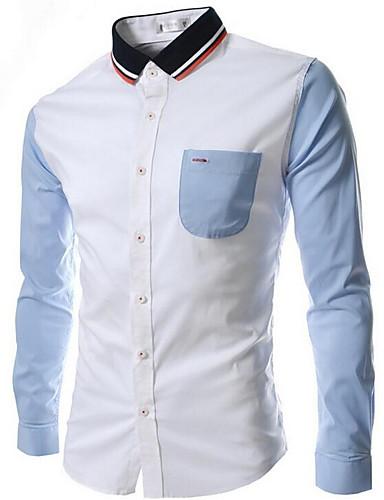 男性用 シャツ シンプル スタンドカラー ソリッド コットン