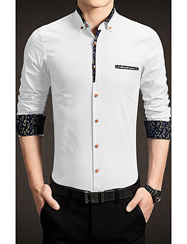 メンズ カジュアル/普段着 シャツ,シンプル スクエアネック ソリッド コットン 長袖