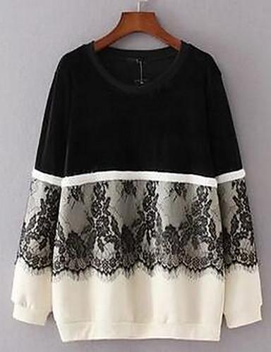 Naiset Plus-koko Rento/arki Yksinkertainen College Color Block Pyöreä kaula-aukko Polyesteri Mikrojoustava