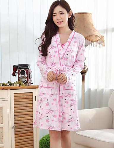 パジャマ 女性用, ミディアム コットン フラワー ピンク