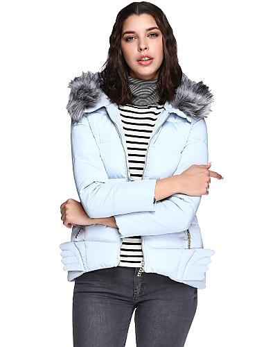 女性用 ソリッド 日常 カジュアル プラスサイズ レギュラー パッド入り 長袖 冬