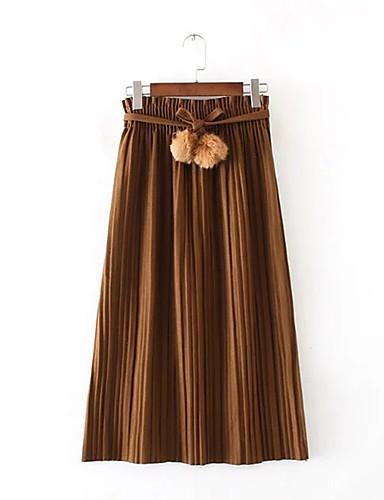 Damen Einfach Street Schick Mittlere Hüfthöhe Midi Röcke Schaukel,Gefaltet einfarbig