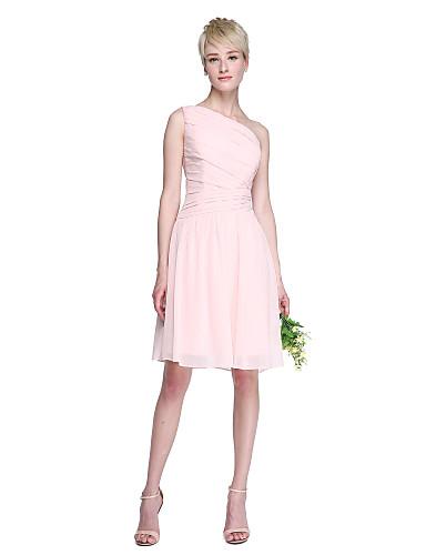 A-Linie Ein-Schulter Knie-Länge Chiffon Brautjungfernkleid mit Seitlich drapiert durch LAN TING BRIDE®