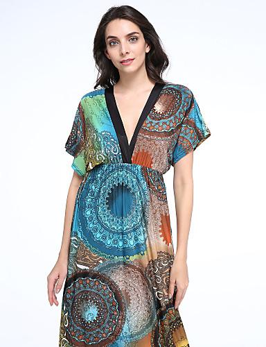 Femme Bohème Balançoire Robe Vacances Grandes Tailles Bohème,Imprimé V Profond Maxi Sans Manches Vert Coton Polyester Eté Taille Normale