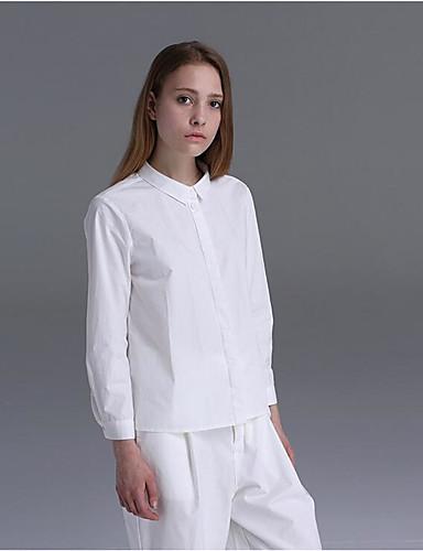 Damen Solide Retro Lässig/Alltäglich Hemd,Hemdkragen Frühling Sommer Langarm Baumwolle