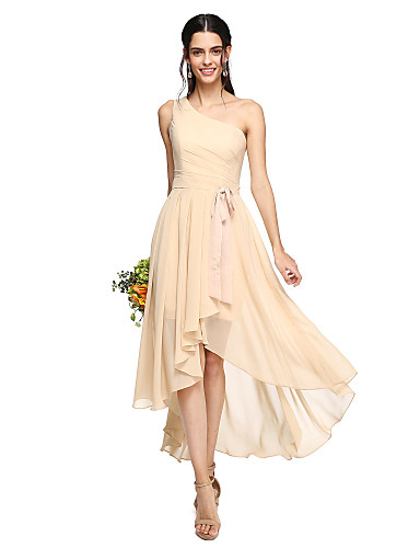 2e6f9957f62 A-Line One Shoulder Asymmetrical Chiffon Bridesmaid Dress with Bow(s)   Sash    Ribbon   Pleats by LAN TING BRIDE®   Open Back