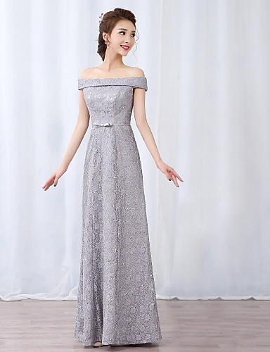 A-Linie Schulterfrei Boden-Länge Spitze Abiball Formeller Abend Kleid mit Schleife(n) Spitze Schärpe / Band durch TS Couture®