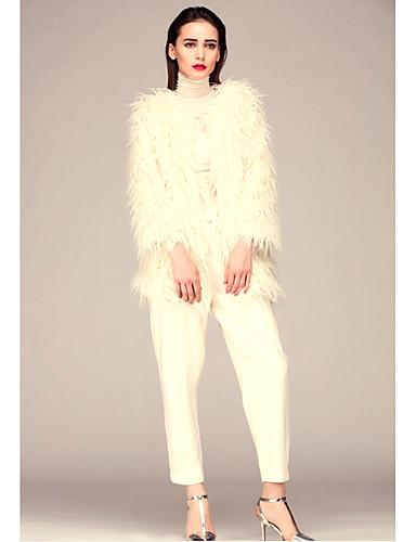 女性 カジュアル/普段着 夏 ソリッド コート,シンプル ラウンドネック ホワイト ベージュ ブラック その他 長袖 厚手