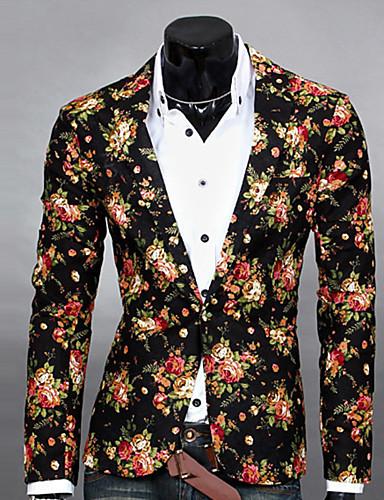 ieftine Reduceri-Bărbați Zilnic Primăvară / Toamnă Regular Blazer, Floral Rever Clasic Manșon Lung Poliester Imprimeu Alb / Negru / Gri L / XL / XXL / Zvelt
