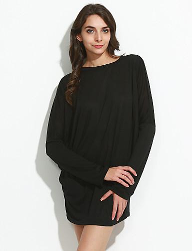 Damen Solide Freizeit Alltag Übergrössen T-shirt, Rundhalsausschnitt U-Ausschnitt Frühling Langarm Baumwolle