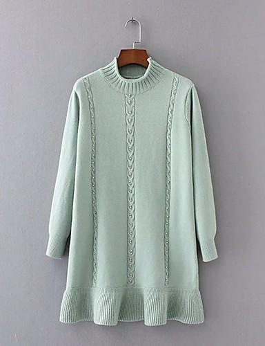 Damen Strickware Kleid-Ausgehen Lässig/Alltäglich Einfach Street Schick Solide Patchwork Rollkragen Übers Knie LangarmKunstseide