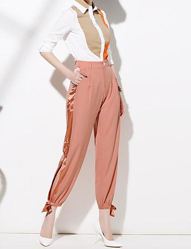 Damen Extraklein Haremshosen Chinos Hose-Lässig/Alltäglich Einfach einfarbig Mittlere Hüfthöhe Knopf Polyester Micro-elastisch Herbst