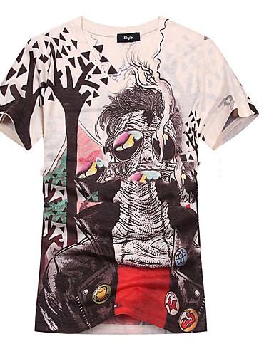 メンズ カジュアル/普段着 Tシャツ,ボヘミアン Vネック プリント コットン 半袖