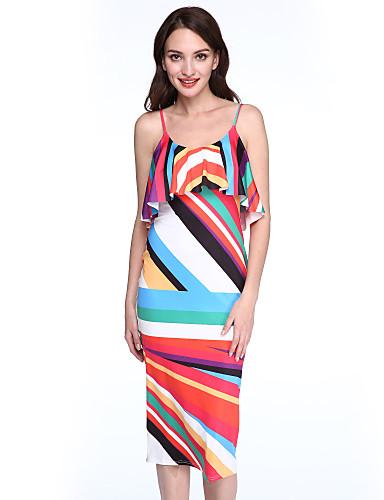 Feminino Tubinho Vestido,Casual Moda de Rua Estampa Colorida Com Alças Médio Sem Manga Poliéster Verão Cintura Média Micro-Elástica