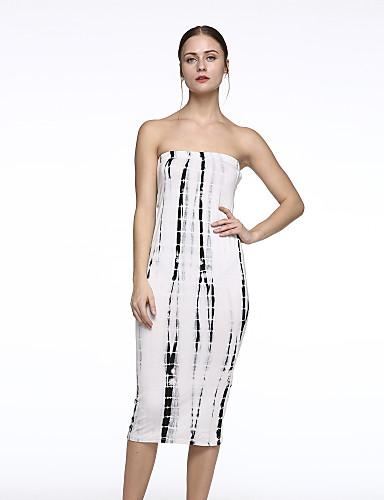 Bayanlar Splandeks / Polyester Midi Kolsuz Straplez / Kayık Yaka Arkasız Bayanlar Elbise