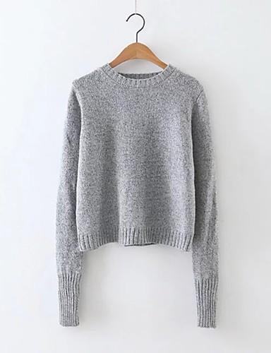 Damen Kurz Pullover-Ausgehen Lässig/Alltäglich Niedlich Street Schick Solide Rundhalsausschnitt Langarm Kunstseide Acryl PolyesterHerbst