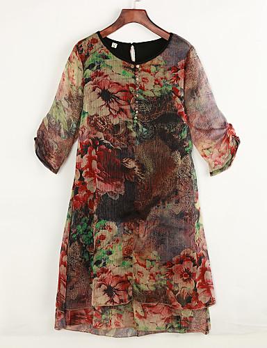 billige Kjoler-Dame Store størrelser Chinoiserie Løstsittende Chiffon Kjole - Blomstret, Trykt mønster Knelang