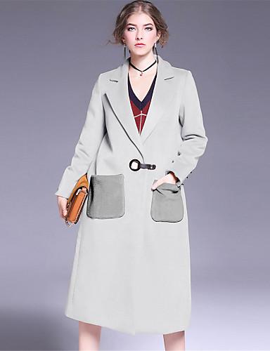 Damen Solide Einfach Lässig/Alltäglich Mantel,Winter Hemdkragen Langarm Beige Schwarz Grau Dick Wolle Polyester