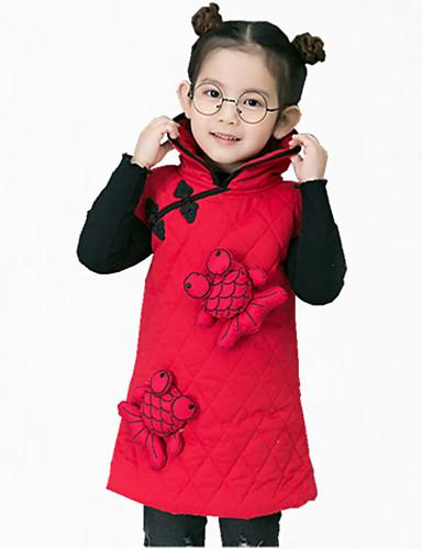 Mädchen Kleid Alltag Stickerei Baumwolle Winter Herbst Ärmellos Zum Kleid Rot