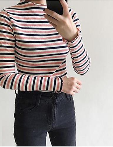 Damen Gestreift Retro Lässig/Alltäglich T-shirt,Rundhalsausschnitt Herbst Langarm Baumwolle Mittel