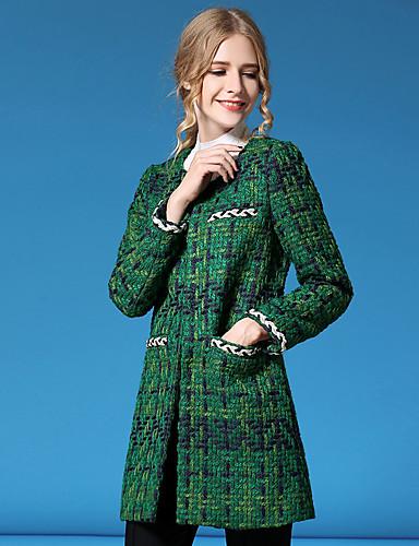 Damen Gestreift Einfach Street Schick Ausgehen Lässig/Alltäglich Urlaub Jacke,Herbst Winter Stehkragen Langarm Grün Mittel Polyester