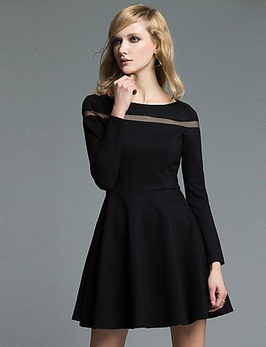 b9c775214dd Dámské Vintage Jednoduché Sofistikované Práce Běžné Denní Společenské A  Line Little Black Šaty Jednobarevné