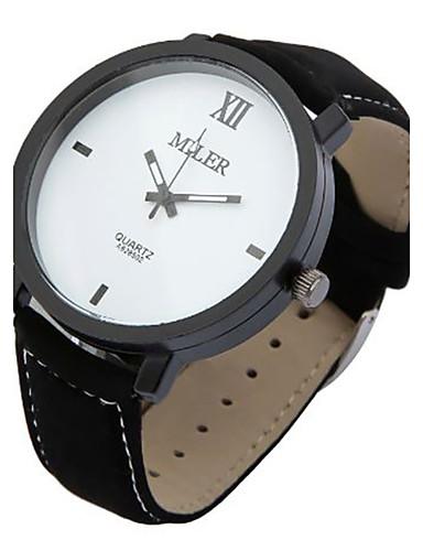 Damen Herrn Armbanduhr Quartz Leder Band Schwarz