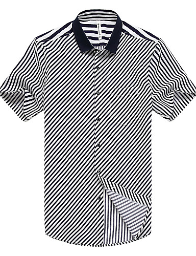 男性用 日常 フォーマル ワーク 夏 シャツ, ヴィンテージ カジュアル シャツカラー ストライプ レーヨン モーダル 半袖