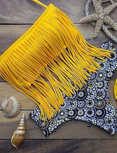 צהוב פרנזים בוהו בגדי ים ביקיני דפוס רצועות בד נשים
