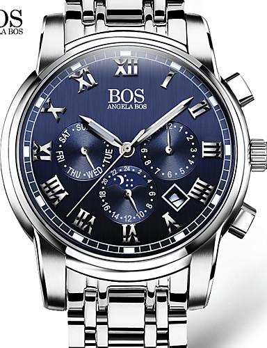 AngelaBOS Homens Relógio de Pulso Quartzo 30 m Calendário Luminoso Aço Inoxidável Banda Analógico Casual Fashion Relógio Elegante Branco - Branco Preto Azul