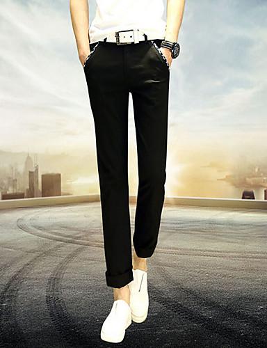 Herren Einfach Tiefe Hüfthöhe Mikro-elastisch Chinos Skinny Hose einfarbig