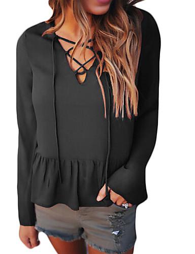 Damen Solide Street Schick Lässig/Alltäglich Bluse,V-Ausschnitt Frühling Herbst Langarm Polyester Dünn
