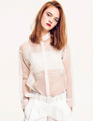 Damen Solide Einfach Lässig/Alltäglich Hemd,Hemdkragen Herbst Langarm Polyester Nylon Lichtdurchlässig