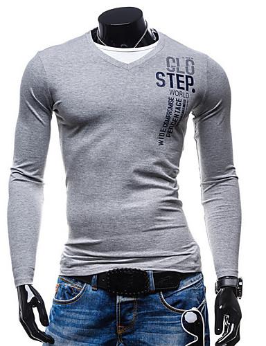 Herrn Solide Buchstabe Baumwolle T-shirt, V-Ausschnitt