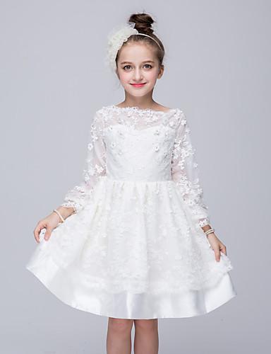 Menina de Vestido Para Noite Sólido Primavera Verão Outono Poliéster Manga Longa Branco