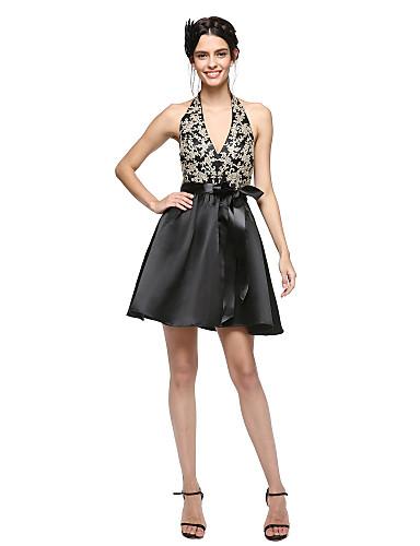A-Linie Leger & Aufgebauscht Halter Kurz / Mini Satin Cocktailparty Abschlussball Abiball Kleid mit Applikationen Schleife(n) Schärpe /